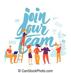 Vector job cocept illustration with people. Join our team