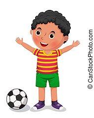 vector, jongen, bal, illustratie