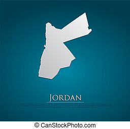vector Jordan Map card paper on blue background, high ...