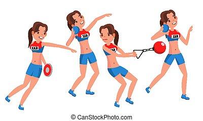 vector., jouer, athlétisme, woman., femme, poses., athlète, ...