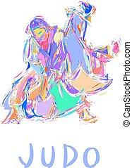 vector, judo, tiro, aislado, mano, dibujado