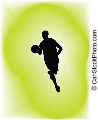 vector, jugador, action., baloncesto, ilustración