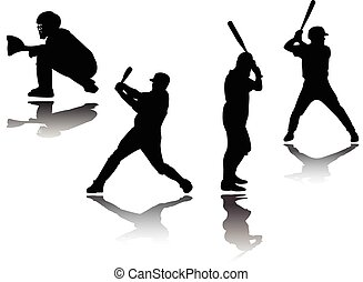 vector, jugador, silueta, -, beisball