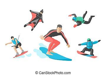 Vector jumping extreme athletes silhouettes illustration life skateboard set speed skydiver skateboarder roller skate wakeboard surfing flyboard