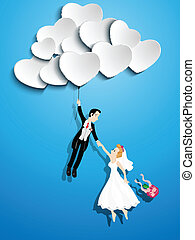Just married couple flying with a heart shaped balloon -...