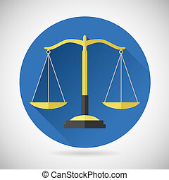 vector, justitie, evenwicht, achtergrond, modieus, pictogram, wet, symbool, ontwerp, moderne, illustratie, plat, schalen