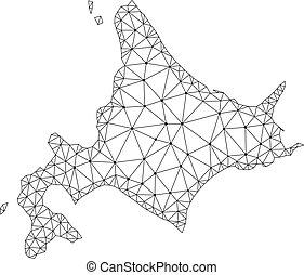 vector, kaart, het kader van de draad, japanner, polygonal, maas, hokkaido