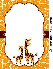vector, kaart, mal, met, schattig, giraffes, op, gevlekt, huid, achtergrond., vector, baby, giraffe.