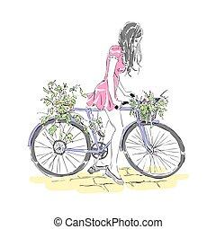 vector, kaart, meisje, paardrijden, bike., freehand