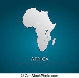 vector, kaart, papier, afrika, kaart