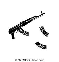 Vector kalashnikov assault rifle icon isolated on white background