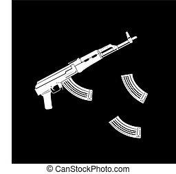 Vector kalashnikov assault rifle icon on black background