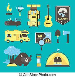 vector, kamperen, iconen