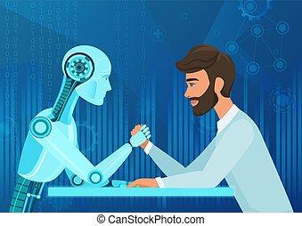 vector, kantoor, intelligentie, vs, robot, kunstmatig, competition., koord, directeur, battle., het trekken, menselijk, zakenman, toekomst, spotprent, man