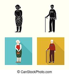 vector, karakter, avatar, verticaal, liggen, symbool., verzameling, ontwerp, illustration.