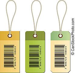 vector, karton, streepjescode, markeringen