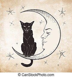 vector, kat, maan, black , zittende