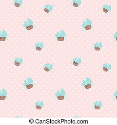 Vector kawaii cupcakes seamless pattern. Pink and blue happy cakes background.