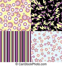 Vector kawaii patterns of Halloween related objects