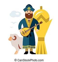 Vector Kazakh Man. Historical clothes. Kazakhstan. Flat style colorful Cartoon illustration