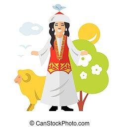 Vector Kazakh Woman. Historical clothes. Kazakhstan. Flat style colorful Cartoon illustration