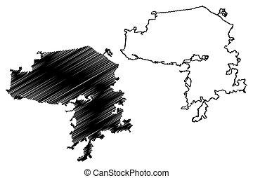 vector, kazan, (russian, ciudad, russia), bosquejo, mapa,...