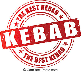 Vector kebab stamp - Vector illustration of best kebab red...