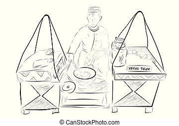 Kerak Telur or Telor Maker and Seller (indonesia traditional food), omelette dish made from coconut, sticky rice, chicken or duck egg at Transparent Effect Background
