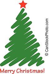 vector, kerstboom, pictogram