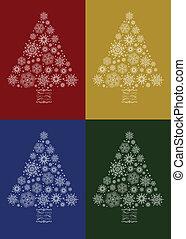 vector, kerstboom, set