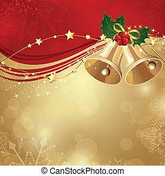 vector, kerstmis, achtergrond, met, twee, klokken
