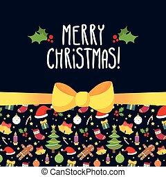vector, kerstmis kaart, groet