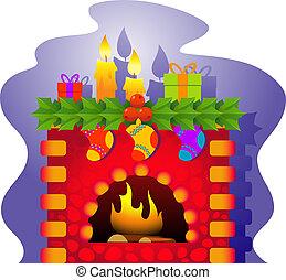 vector, kerstmis, openhaard