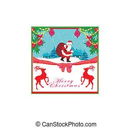vector, kerstmis vakantie, achtergrond, met, santa claus, en, rendier