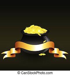 vector, ketel, volle, van, gouden muntstukken