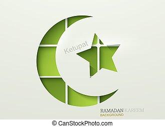 Vector ketupat element design. ramadan kareem background....
