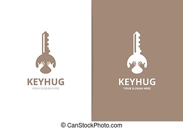 Vector key and hands logo combination. Lock and embrace...