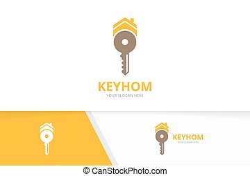 Vector key and real estate logo combination. Lock and house...