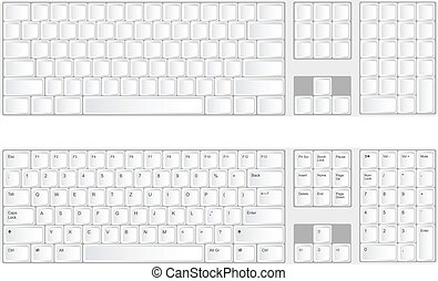 Vector keyboard isolated on the white