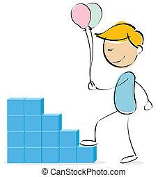 vector kid climbing blocks with balloons