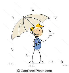 vector kid enjoying rain