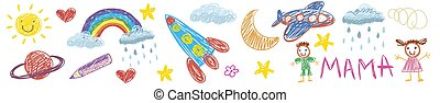 Vector kids drawing with spaceship, planet, alien, moon, star, cloud, sun, rocket, jupiter. Cartoon boy and girl.