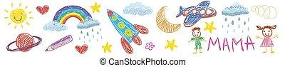 Vector kids drawing with spaceship, planet, alien, moon, star, cloud, sun, rocket, jupiter. Cartoon boy and girl.