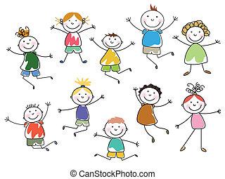 Vector Kids  - Vector Illustration of Small Kids
