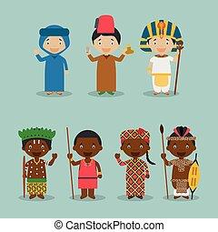 vector:, kinder, 7, angezogene , national, afrikas, verschieden, kostüme, satz, charaktere, nationalitäten, welt, 2.