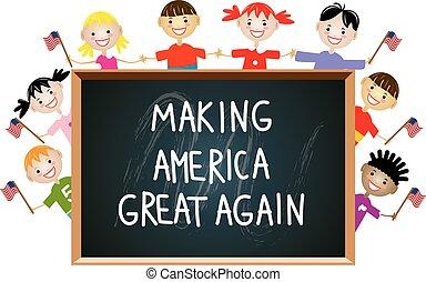 vector, kinderen, amerikaan, vaderlandslievend, opleiding, concept