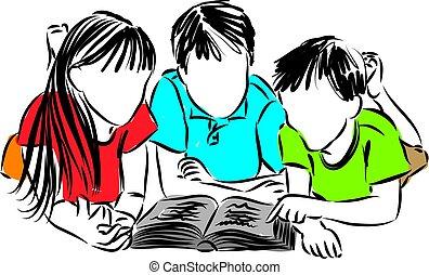 vector, kinderen, boek, illustratie, lezende