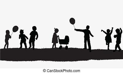 vector, kinderen, illustratie, natuur