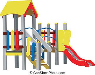 vector, kinderen, speelplaats