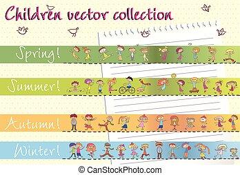 vector, kinderen, verzameling